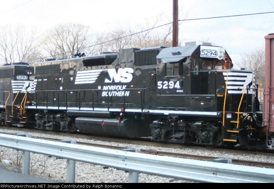 Fresh from the paint shop, borrows NS GP38-2 5294 waits to head west on WS-5