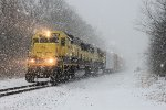 Westbound freight SU-99 at Green Pond Rd in a late winter snowfall