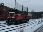 Leased U23B sits by itself at the west end of the yard on a winter's day