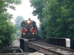 WS-3 starts up the grade to the main with 13 ex NJT coaches for Sparta