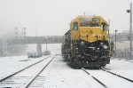 NYS&W SD40 # 3022 sits on the service track in  the snow between runs to and from Binghamton, NY