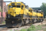 SU99-18 with 3 locomotives and 60 cars waits for its crew prior to departure