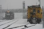 NS GP38-2s 5294/5293 sit amid the falling snow awaiting their next move