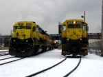 Black and yellow in the snow at the servicing facility