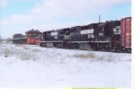 NS freight waits near Amtrak station