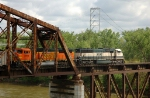 BNSF 9823 - 8974, EMD SD70MAC, crossing the Missouri River bridge with an eastbound coal load