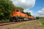 BNSF 5775 - 5694, work an eastbound NS coal load