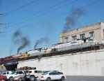 Four Alcos departing Scranton with a heavy train