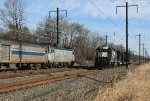 Amtrak train 20(9) passes NS local H6G