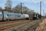 Amtrak train 2160(10) passes NS local H6G