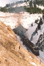 Loaded coal train out the west portal of Bozeman Tunnel