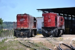 ALL 2620 (UMM21C ex. GE U20C) and ALL 7601 (C30-7) at the Iguacu shop Curitiba Nov 2010