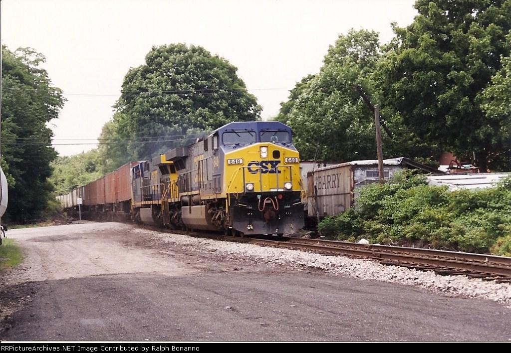 CSX train TV-18 rolls east at Matthews Ave, just having passed through Butler