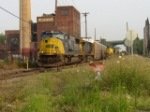 Q271 passing an NYSW GP-18 leaving yard limits