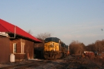 Racing the setting sun, the Q108 detour passes the old DL&W station in town