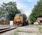 After a crew change, Detour train X101-16 departs for Little Ferry and eventually home rails