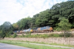 CSX Detour train X101-16 rides above NJ Route 23 enroute to littl Ferry