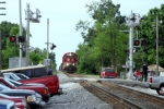 CSX K562 approaches Main Street at 5mph and crossing flagged