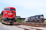 Power from CP 39T is parked in bethlehem as NS H-74 with high hood SD40-2 3201 leads the train