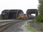 BNSF power on a SB grain train