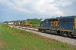 CSX 6465 with a  MOW train meets a SB Manifest