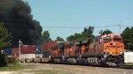 BNSF 6969 east passing Willis Steel fire