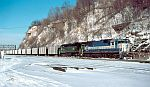 Coal train arrives lead by and Oakway unit