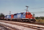 GT Sd40 #5912 (which I've run countless times before retirement) Heads up former DT&I Gp38 #6222 as they head south through Walbridge yd on their way to Willard Oh. Year is 1987.