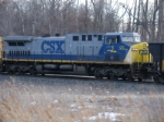 # 1 seen as trailing unit on V806 coal train  approaching CP-SK