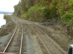 Effects of a recent mudslide on the River line near MP 67