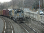 Q402-19 with an ex QNS&L SD40, heads north on the main at CP-102