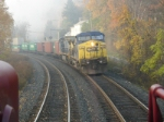 A foggy Sunday AM has Q165 heading north past Q150 at CP-102