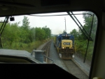 Northbound work train with a B36-7  as power, rolls by on the main