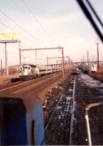 SK-5 heads east on the Center St industrial. Cars to the right are interchange for NJT