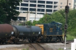 CSX 1215 drags a few tank cars south out of the tilford yard