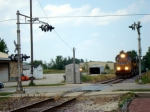UP 4642 approaching Main St. with a ballast train for the Jefferson/Fort Branch