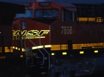 Close up shot of BNSF 7856 as she lights up her reflective BNSF Swoosh Logo.