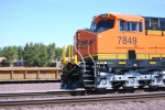 Close up side shot of the crew cab of BNSF 7849 a very clean and Brand New ES44DC.