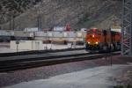 BNSF 7849 rounds the curve on Main 3 as she decends off Cajon Summit towards San Bernardino.