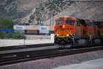 Close up of BNSF 7849 as she decends on Main 3 towards San Bernardino, Ca.