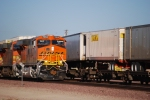 BNSF 7854 in this close up view of the crew rolls east into the BNSF Barstow yard for a crew swap.