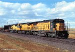 Three years after the 1995 UP/CNW merger CNW 8512 (C40-8) with a all CNW lashup leads a manifest off Sherman Hill WY. 10/28/1998. photo date approximate.