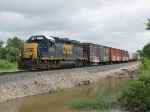 CSX 6124 leads Y106 past a temporary pond left from recent heavy rains