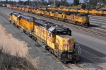 UPY 3205 (SD40-2) with a huge assortment of power laying over on New Year's day at West Colton CA. 1/1/2010