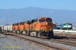 BNSF 7771 (ES44DC) and three other Gevo's lead a Los Angeles bound freight through Rana CA. 6/3/2018