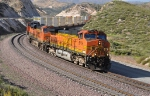 BNSF 5179 (C44-9W) Leads a L.A. bound stack train through Sullivan's Curve CA.  6/8/2010