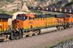 BNSF 7695 (ES44DC) Yellow Power Bar at Blue Cut CA. 6/19/2010