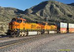 BNSF 7209 and BNSF 7848 with eastbound stacks at Cajon MP 18.7 BNSF Cajon Subdivision. 1/16/2011