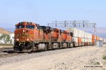 BNSF #5477 with east bound stacks at Verdemont CA on the BNSF Cajon Subdivision, MP 7.6. 6-27-2017