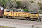 UP #7091 is the acting DPU on an eastbound UP manifest. Blue Cut-Cajon Pass CA. 6/27/2017